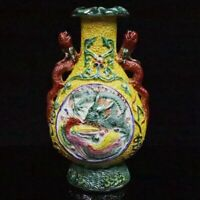chinese old porcelain hand carved dragon phoenix pattern statue vase yellow 3D