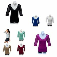 Unbranded 3/4 Sleeve Striped Tops & Shirts for Women