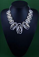 Modern Quirky Matt Silver Beaten Abstract Swirl Design Statement Necklace