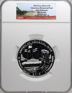 2019 5oz SILVER 25C American Memorial Park NGC MS 69DPL Early Releases must see!
