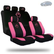 Deluxe Pink Heart Car Seat Covers and Headrest Covers Gift Set For Nissan