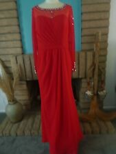 JJ's House Red Beaded Gown/Wedding, Party, Prom, Formal - Sz. 12