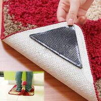 4 Set Reusable Rug Carpet Mat Grippers Anti Slip Silicone Grip Skid Tape Healthy