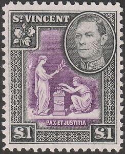 St Vincent 1938 KGVI £1 Purple and Black UM Mint SG159 cat £28 MNH