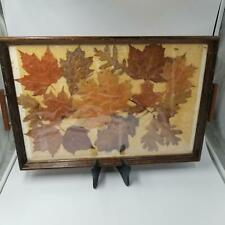 Vintage Wood Handled Rectangle Tray Pressed Autumn Fall Leaves Dover NH