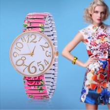 Fashion Women Watches for Geneva Stretch Band Flower Dial Floral Printed Pink B#