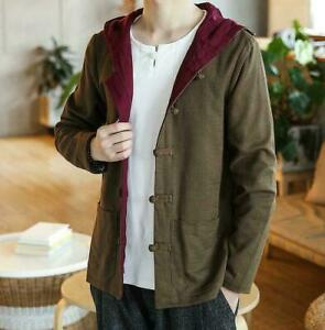 Chinese Mens Cotton Linen Hooded Coat Retro Buttons Pockets Casual Solid Jakcet