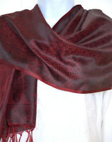 Banaras Silk Burgundy Black Woven Floral Design Shawl, Wrap, Stole