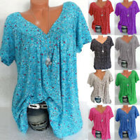 Women Fashion Plus Size Short Sleeves V-Neck Print Blouse Pullover Tops T Shirt