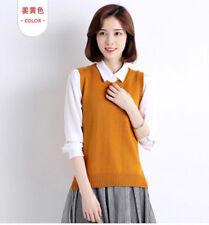 Womens Knit Cotton Sweater Vest Warm Pullover Knitwear Outwear sleeveless Tops