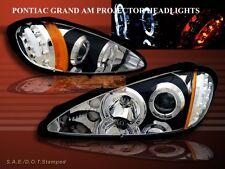 1999-2005 PONTIAC GRAND AM TWO HALO PROJECTOR HEADLIGHTS LED BLACK 01 2002 2003