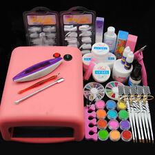 Nail Art Kit UV Builder Gel 36W Timer Dryer Lamp Decorations Full Tools Kits Set