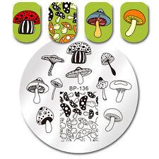 Nail Art Stamping Template Mushroom Stamp Image Print Plate Round BORN PRETTY