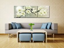 3 Pcs Picture White Magnolia Flower Wall Art Print Canvas Framed Home Hang Decor