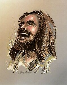 """Catholic print picture  -  JESUS SMILING  -   8"""" x 10"""" ready to be framed"""
