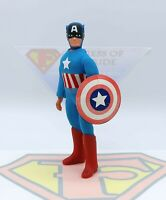 """Vintage 1974 Mego Captain America WGSH 8"""" T2 Action Figure w/Original Shield"""