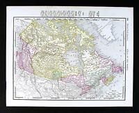 1895 Rand McNally Map - Canada - Ontario Quebec British Columbia Manitoba Ottawa