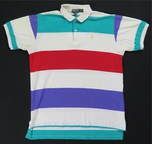 Rare VTG POLO RALPH LAUREN Small Pony Color Block Striped Polo Shirt 90s Youth L
