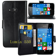 LUXURY PU LEATHER WALLET STAND CASE CARD POCKET FOR Microsoft NOKIA LUMIA 550