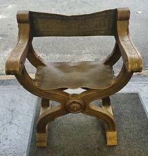 Vintage Savonarola Chair Carved Wood Tooled Leather Folding X Throne Revival