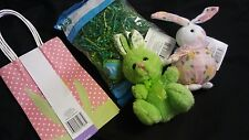 Easter Bag Kit (Green Grass, Two bags& Two stuff Bunnies)- New