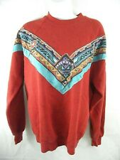 Vintage Southwest Aztec Tribal Sweatshirt Red Medium Crew Neck Womens