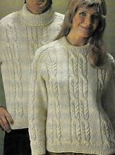 "#275 LADY'S MENS ARAN JUMPER  ROUND & POLO NECKS 32-46"" VINTAGE KNITTING PATTERN"