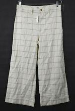 Madewell Women High Waist Canvas Emmett Wide-Leg Cropped Pants Windowpane 30 $98