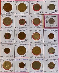 Foreign World Coins, Lot of 20 Carded, GVG-AU, Some High Grades,1800's