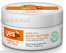 Yes To Carrots Organic Super Rich BODY BUTTER 177ml For Normal To Dry Skin