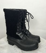 Hunter Genuine Shearling Waterproof Lace Up Black Boots US 7 Rain Snow