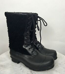 Hunter Genuine Shearling Waterproof Lace Up Black Boots US 7 Rain Snow