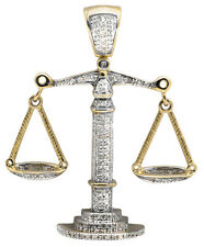 10K Yellow Gold Lucky Libra Weighing Scale 1.5 Inch Diamond Pendant Charm 0.55ct