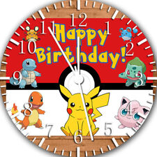 Pikachu Pokemon Kids Birthday Frameless Borderless Wall Clock Nice Gifts E257