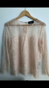 The Kooples Light Pink Lace Tie Blouse Top M