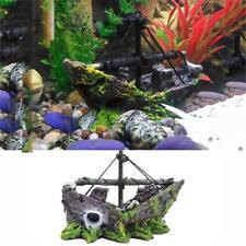 Aquarium Pirate Ship Cave Fish Tank Decoration Rockery Ornament Boat Resin Decor