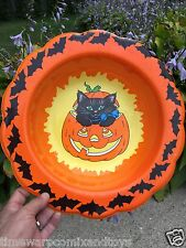 Vintage Halloween JOL Black Cat and Bats Plastic Candy Goodie Dish Bowl NICE!