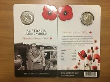 2x 2009 Australia Remembers Australian Service Nurses 20c Coins on Cards