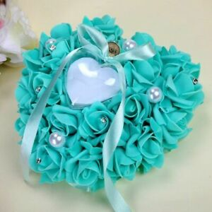 Wedding Ring Pillow Heart Shape White Ring Pillow Lace Crystal Rose WeddingHeart