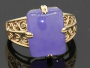 14K gold 13.8 X 10.6mm cabochon Lavender Jadeite jade solitaire filigree ring