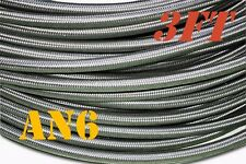 """3/8"""" STAINLESS STEEL BRAIDED -6AN AN6 6-AN OIL FUEL LINE HOSE 3ft"""