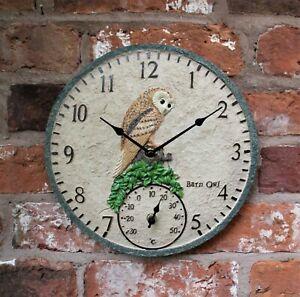 Garden Wall Station Thermometer Clock Outdoor Indoor 12 inch Bird Owl design