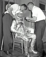 JOHN GLENN FITTED FOR SPACE SUIT PRIOR TO FRIENDSHIP 7  8X10 NASA PHOTO (AA-973)