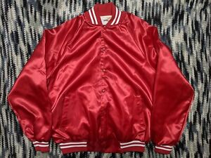 Vintage Red Satin Jacket Blank Button Up Mens XL Made in USA