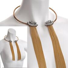 FASHION Jewellery Colore Oro Catena Cordolo cristallo collare Collana Con Nappa