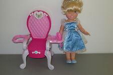 "Disney Princess Doll Cinderella 15"" Vinyl  & Pink Chair 12""  Lot D6"