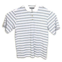 Pebble Beach Performance Mens Stripe White Black Blue Golf Polo Shirt Large