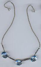 ART DECO VINTAGE BLUE TOPAZ SAPPHIRE GLASS STERLING SILVER MARCASITE NECKLACE