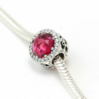 Authentic Pandora Charms 925 ALE Sterling Silver Red Crystal CZ Bracelet Bead