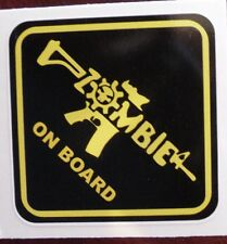 """Zombie On Board"" gun sticker decal sign 2.75x2.75"""